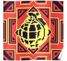 Grenade Pattern [Black/Red] Poster