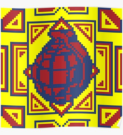 Grenade Pattern [Red/Yellow] Poster