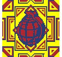 Grenade Pattern [Red/Yellow] Photographic Print