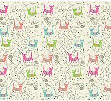 Cute Cartoon Style, Cats  Pattern Photographic Print