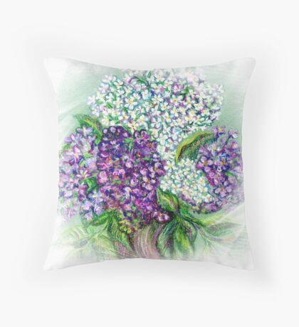 Lilac flowers Still life Throw Pillow