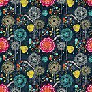 Colorful Abstract Stylized Retro Flowers Pattern by artonwear