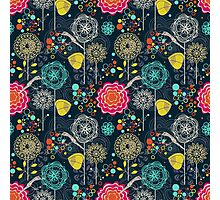 Colorful Abstract Stylized Retro Flowers Pattern Photographic Print