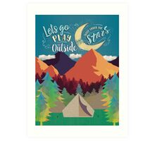 Let's Go Play Outside and Sleep Under the Stars Colorful Nature Illustration Art Print