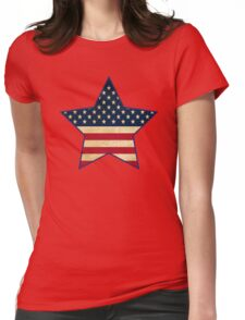 Star of American Flag Womens Fitted T-Shirt