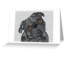 Cute black Pug Greeting Card
