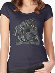 Cute black Pug Women's Fitted Scoop T-Shirt