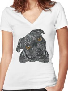 Cute black Pug Women's Fitted V-Neck T-Shirt