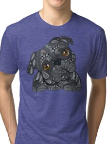 Cute black Pug Tri-blend T-Shirt