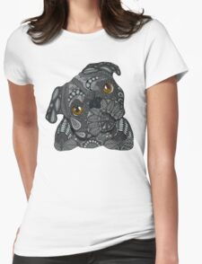 Cute black Pug Womens Fitted T-Shirt