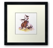 Cello Cat Drawing by Margit Framed Print