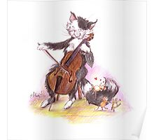 Cello Cat Drawing by Margit Poster
