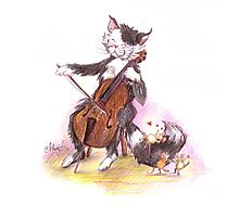 Cello Cat Drawing by Margit Photographic Print