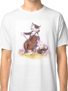 Cello Cat Drawing by Margit Classic T-Shirt