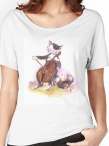 Cello Cat Drawing by Margit Women's Relaxed Fit T-Shirt