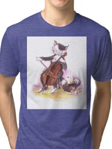Cello Cat Drawing by Margit Tri-blend T-Shirt