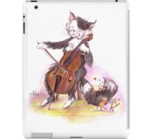 Cello Cat Drawing by Margit iPad Case/Skin