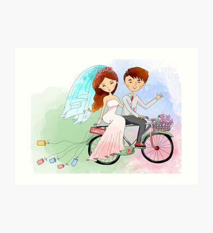Bride and Groom Just Married Bicycle Flowers Art Print