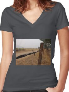 Barb Wire Fence Women's Fitted V-Neck T-Shirt