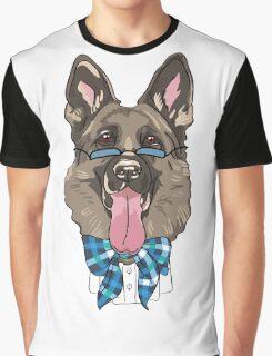 hipster dog German shepherd Graphic T-Shirt