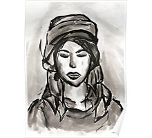 Girl with Scarf Poster