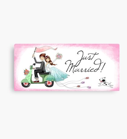 Watercolors Just Married Newlyweds on Scooter Canvas Print
