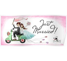 Watercolors Just Married Newlyweds on Scooter Poster