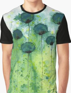 Mo' Money - Teal Watercolor Flowers Graphic T-Shirt