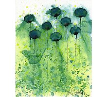 Mo' Money - Teal Watercolor Flowers Photographic Print