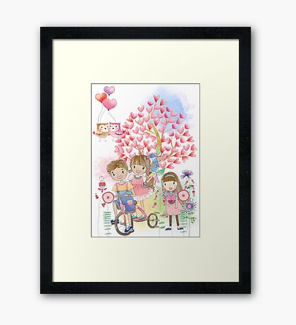 Watercolors Kids Playing Summer Love Flowers Framed Print