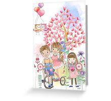Watercolors Kids Playing Summer Love Flowers Greeting Card