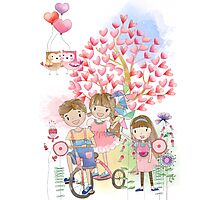 Watercolors Kids Playing Summer Love Flowers Photographic Print