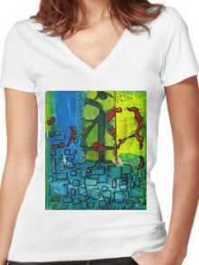 Four Women's Fitted V-Neck T-Shirt