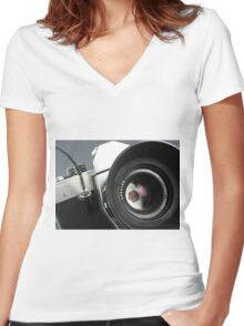 Camera in action. Women's Fitted V-Neck T-Shirt