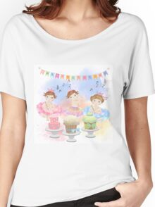 Watercolors Baby's Birthday With Cakes Women's Relaxed Fit T-Shirt