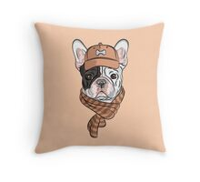 Hipster dog  French Bulldog Throw Pillow