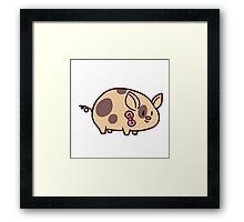 Pink Bow Piggy Framed Print