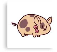Pink Bow Piggy Canvas Print