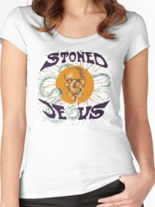 Stoned Jesus Artwork Women's Fitted Scoop T-Shirt