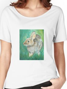 Cottontail Rabbit in a Meadow Women's Relaxed Fit T-Shirt