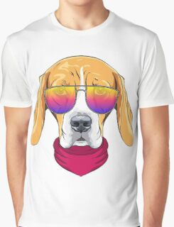 Hipster serious dog Beagle  Graphic T-Shirt