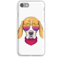 Hipster serious dog Beagle  iPhone Case/Skin
