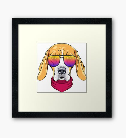 Hipster serious dog Beagle  Framed Print