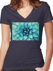 Macro Turquoise Plant Women's Fitted V-Neck T-Shirt