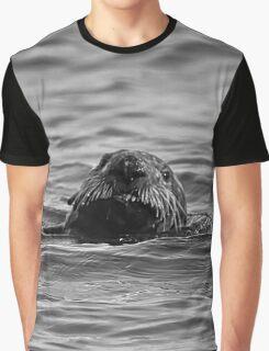 BW Smiling Sea Otter-Seward Alaska Graphic T-Shirt