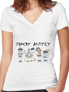 Funny Ahoy Matey Robot Pirates  Women's Fitted V-Neck T-Shirt