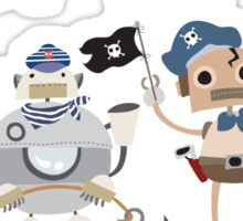Funny Ahoy Matey Robot Pirates  Sticker
