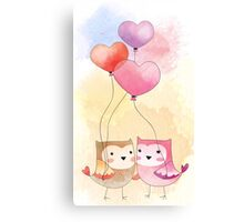 Watercolor Owls in Love Canvas Print