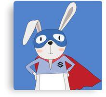 Cute Animals Bunny Rabbit Super Hero Canvas Print