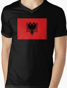 Albanian national flag in authentic color and scale. Mens V-Neck T-Shirt